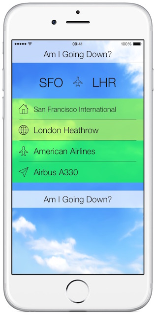 Fear of Flying App - Am I Going Down?